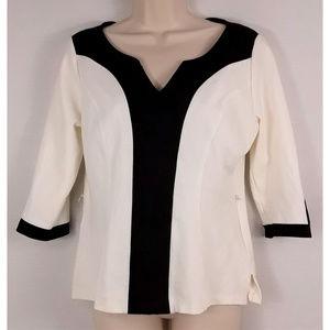 WHBM Tunic Style Black White Blouse Size Medium